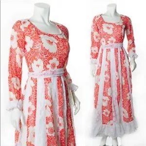 Red and white floral Boho Prairie Hawaiian dress